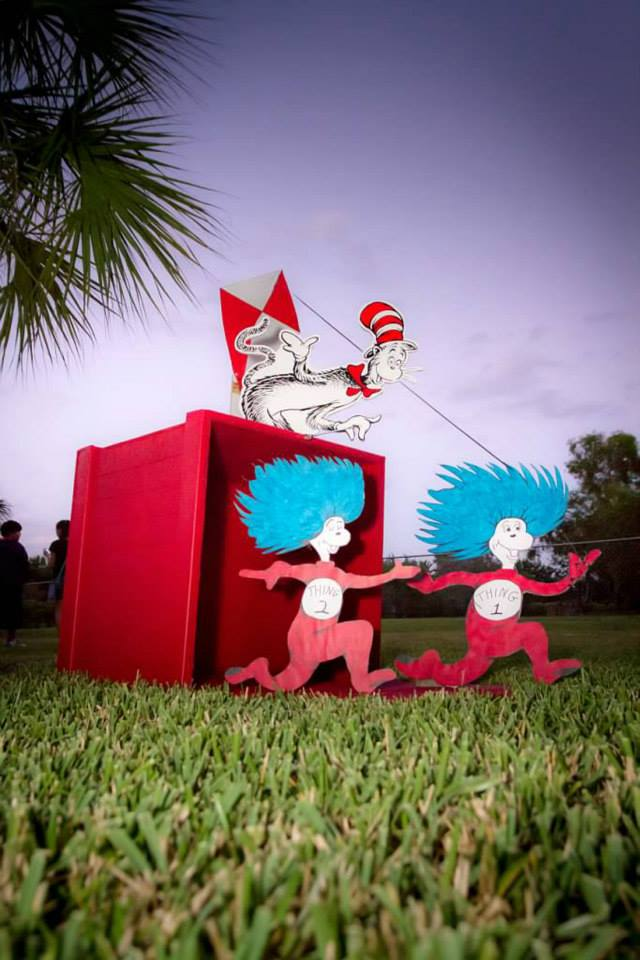 Dr. Seuss Inspired Red Box, Seuss Themed party props, Dr. Suess Party, Cat in the Hat red Box, Thing 1 & Thing 2