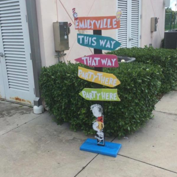 Dr. Seuss Inspired Party Directions, Seuss Themed party props, Dr. Suess Party, Cat in the Hat, Party Here Party there sign