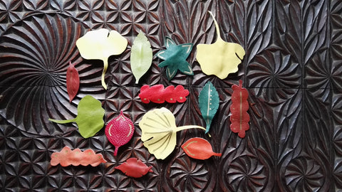 autumn leaves!  Rescued leather handmade into clip-anywhere accessories for hair, bags, shoes, wristbands, lapels, scarves or...