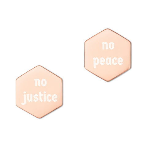 """no justice/no peace"" Sterling Silver Hexagon Stud Earrings"