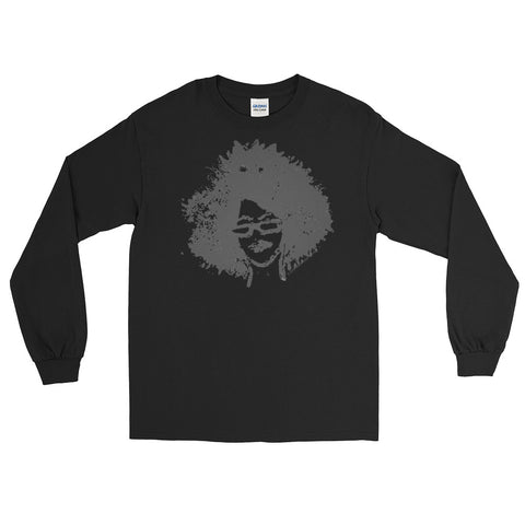long-sleeved afro-print tee