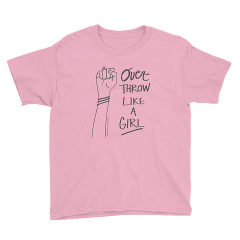 """overthrow like a girl"" kids' tee"
