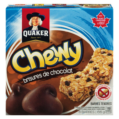 Barres tendres brisures de chocolat - Quaker - Epipresto