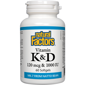 Vitamines K et D 120mcg et 1000 Ui - Natural Factors