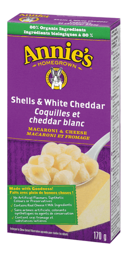 Macaroni au fromage (coquilles et cheddar blanc) - Annie's Homegrown