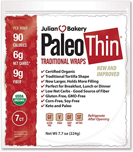 Julian Bakery -PaleoThin Wrap traditionnel fin sans gluten, vegan - Epipresto