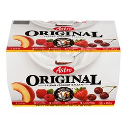 Assortiment de yogourt aux fruits style Balkan 4 %, Original - 12x100 g - Astro