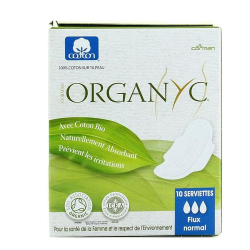 Serviettes naturelles flux normal en coton bio - Organyc