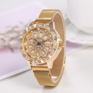 Women Luxury Watch with Special Design 360 Degrees Rotation Diamond Dial - FidgetTrends