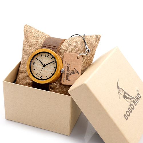 Wood Watch Women's Bamboo Wood Quartz - FidgetTrends