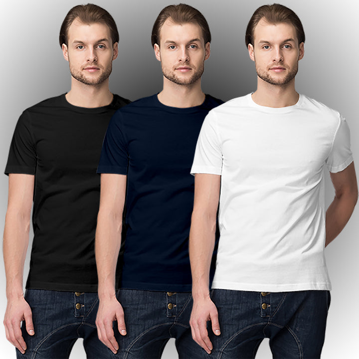 Black Navy blue White half-sleeve t-shirt combo (3 t-shirts) - Ovicity