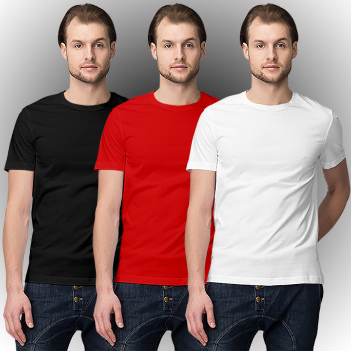 Black Red White half-sleeve t-shirt combo (3 T-shirts) - Ovicity