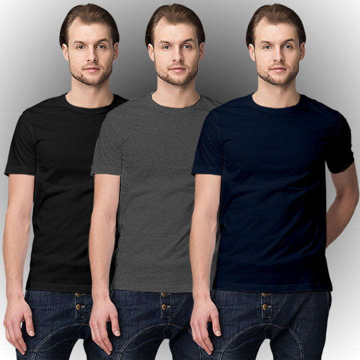 Black, Dark grey, Navy blue half-sleeve t shirt combo (3 t shirts) - Ovicity