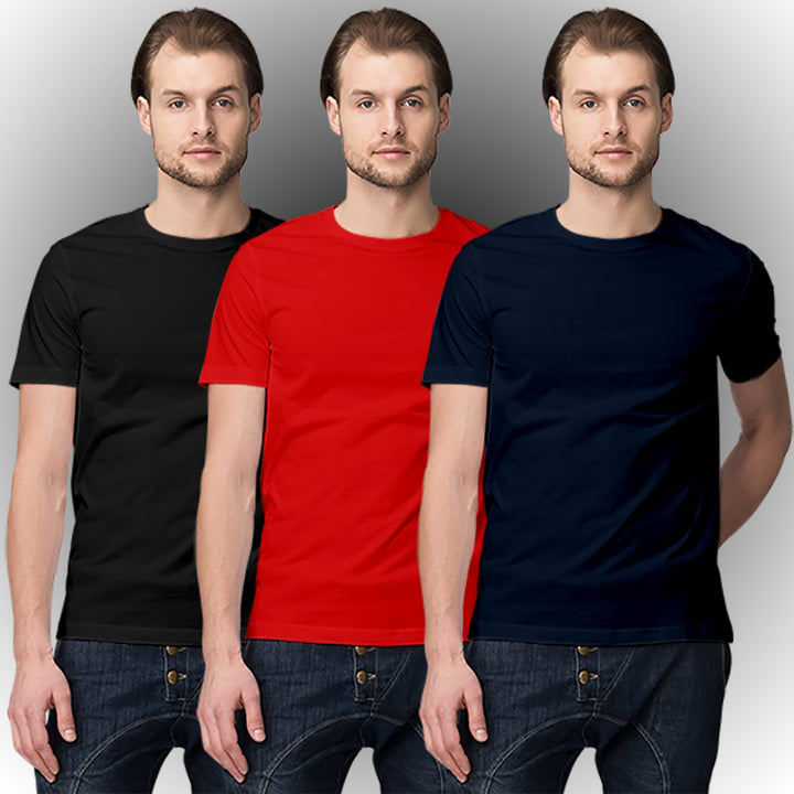 Black Red Navy Blue half-sleeve t-shirt combo (Pack of 3)