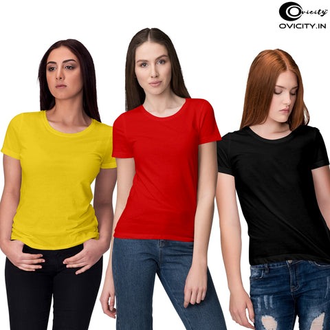 Black yellow red womens t-shirt combo (Pack of 3)