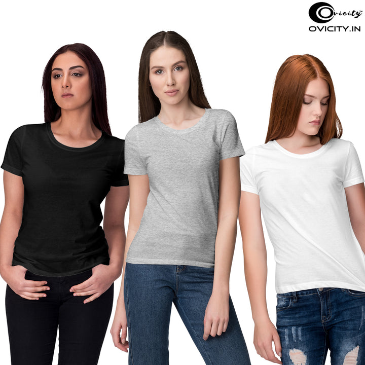 Black Grey melange white womens t-shirt combo (Pack of 3)