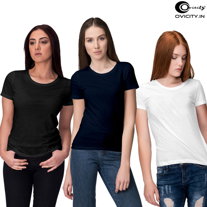 Black white navy blue womens t-shirt combo (pack of 3)