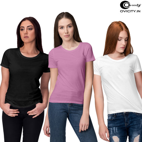 Black White Pink womens t-shirt combo (Pack of 3)
