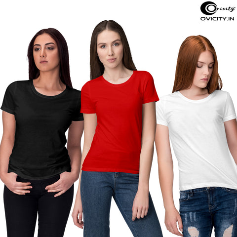 Black White Red womens t-shirt combo (Pack of 3)