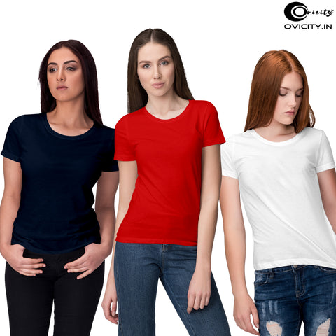 Navy blue Red White womens t-shirt combo (Pack of 3)