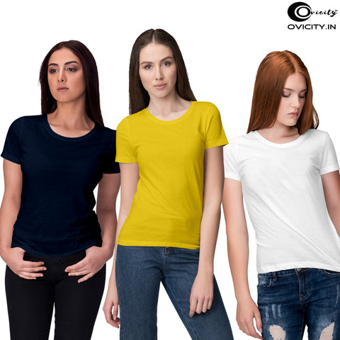 Navy blue yellow white womens t-shirt combo (Pack of 3)