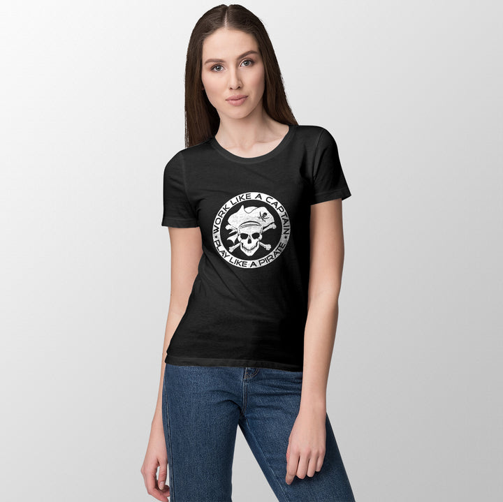 Work like captain- play like pirate women's t-shirt