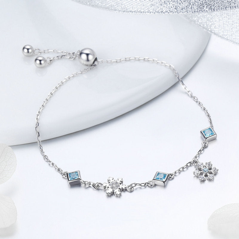 WOSTU Winter New 100% 925 Sterling Silver Snowflakes Snow Link Chain Bracelet For Women Brand Bracelets Silver Jewelry BSB001