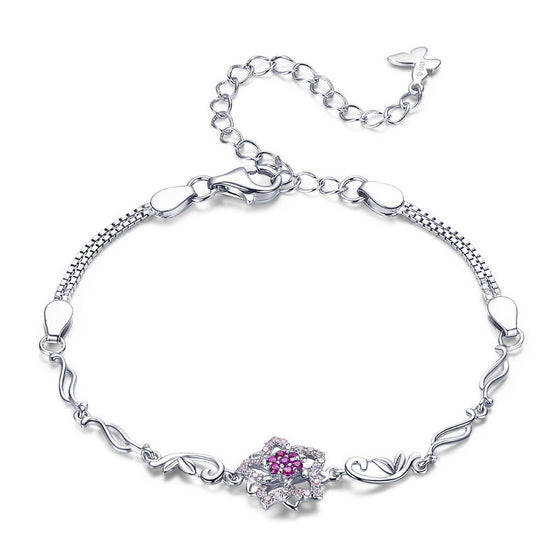 WOSTU Fashion Five Petal Pink Peach Blossom Chain & Link Bracelets Attractive Jewelry BSB005 - WOSTU