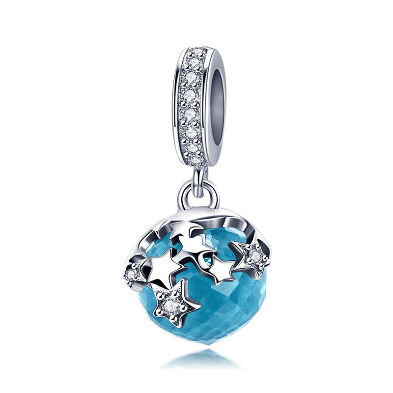 WOSTU Starry Sky 925 Sterling Silver Starlight Blue Night Dangles Charms Fit Bracelet & Necklace Pendant Fashion Jewelry BSC029 - WOSTU