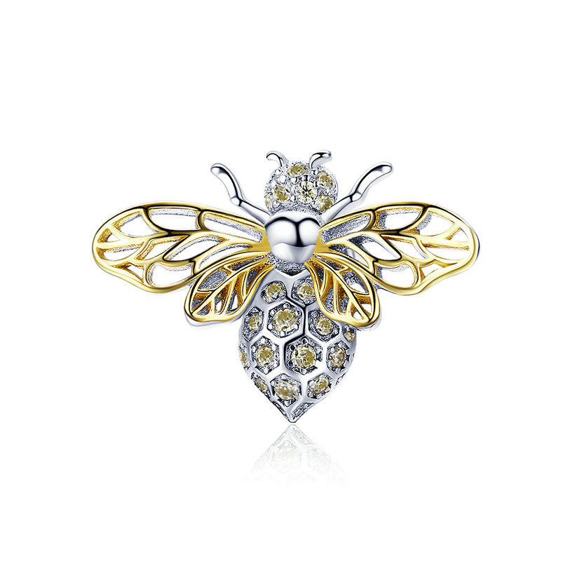 WOSTU  Spring Animal Bee Charm Gold CZ Bead Fit Original Bracelet Pendant Charms Jewelry Making BSC067 - WOSTU