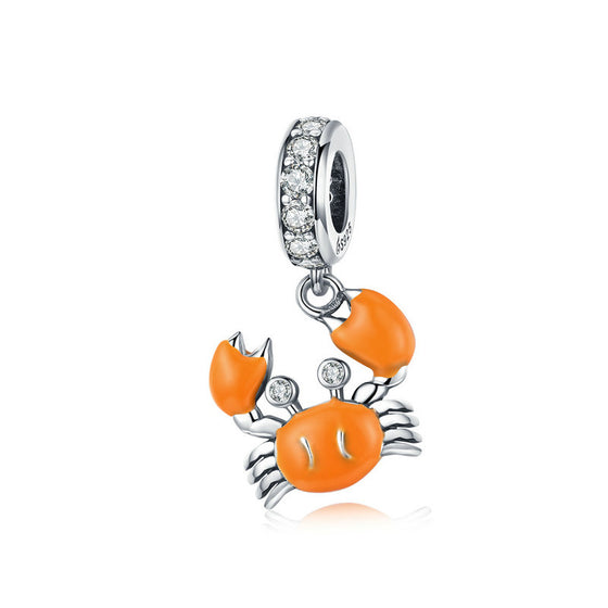 WOSTU Orange Crab Dangle Charm 925 Sterling Silver Zircon Enamel Beads Fit Original Bracelet Charms For Jewelry Making BSC076 - WOSTU