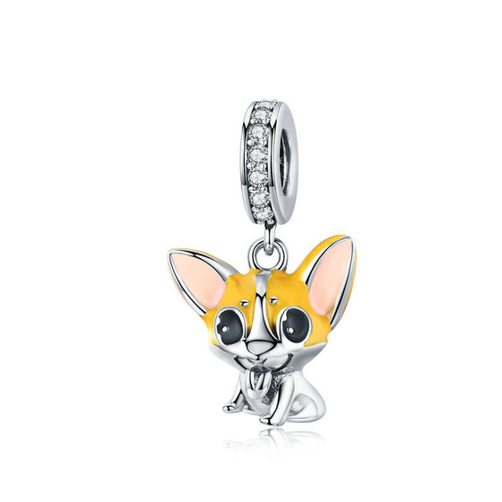 WOSTU Corgi Pet Animal Dangle Charm 925 Sterling Silver Yellow Enamel Beads Fit Original Bracelet Silver 925 Jewelry BSC078
