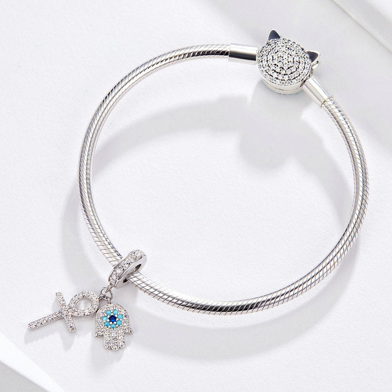 Wostu Unique Hamsa Hand Charms Beads 925 Sterling Silver Full Pave Setting Cz