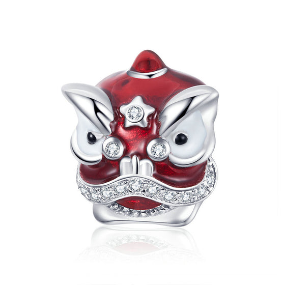 WOSTU Red Lion Dance Beads 100% 925 Sterling Silver Zircon Charm Fit Original Bracelet Pendant Silver 925 Jewelry Making BSC086 - WOSTU
