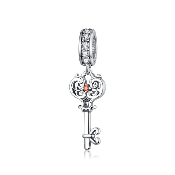 WOSTU Heartslock Key Dangle Charm 925 Sterling Silver Beads Fit Original DIY Bracelet Silver 925 Jewelry Making BSC092