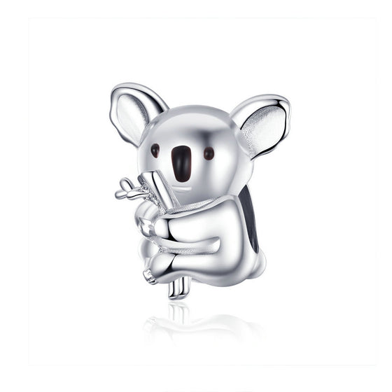 WOSTU Koala Animal Beads 100% 925 Sterling Silver Charm Fit Original DIY Bracelet Pendant Wedding Silver Jewelry Making BSC093 - WOSTU