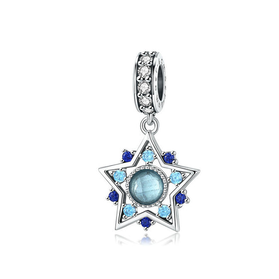 WOSTU Dazzling Blue Star Dangle Charm 100% 925 Sterling Silver Zircon Beads Fit Original DIY Bracelet Jewelry Making BSC099 - WOSTU