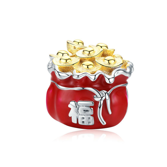 WOSTU Lucky Fortune Bag Beads 100% 925 Sterling Silver Red Enamel Charm Fit Original Bracelet Pendant Jewelry Making BSC100 - WOSTU