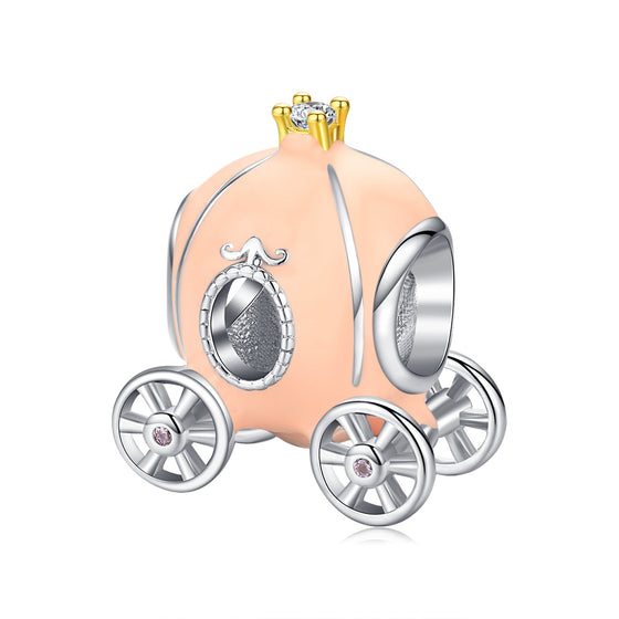 Beige Enamel Pumpkin Carriage Charm BSC135 - WOSTU