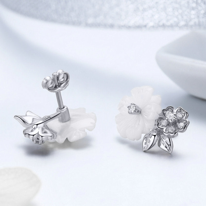 WOSTU 100% 925 Sterling Silver Shell Daisy Flowers Stud Earrings For Women Party Engagement S925 Silver Fashion Jewelry BSE008 - WOSTU