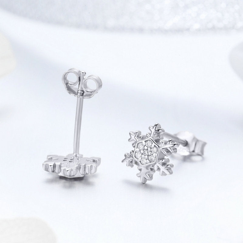 WOSTU 2018 Winter New 925 Sterling Silver Elegant Snowflake Stud Earrings For Women Party S925 Silver Fashion Jewelry BSE009 - WOSTU