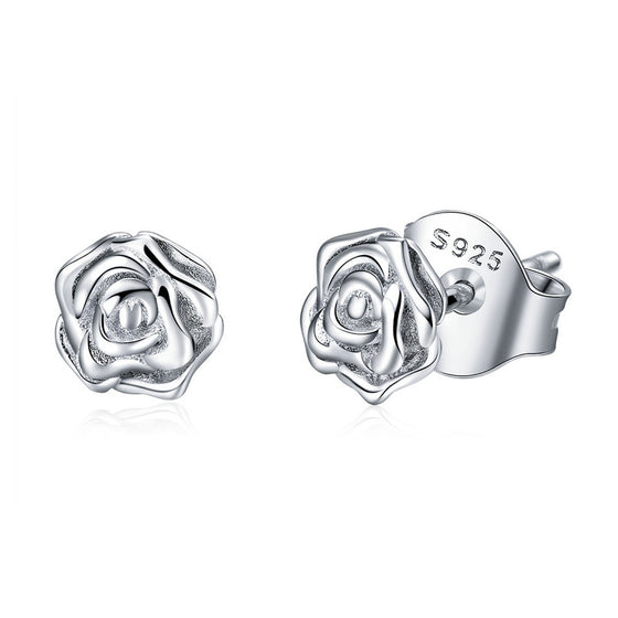 2018 New Design WOSTU Authentic 925 Sterling Silver Alluring Rose Clear CZ Female Stud Earrings For Women Jewelry Gift BSE012 - WOSTU