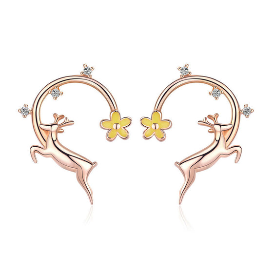 WOSTU 2018 New Little Christmas Deer Stud Earrings For Women S925 Brand Jewelry Best Gift BSE014 - WOSTU