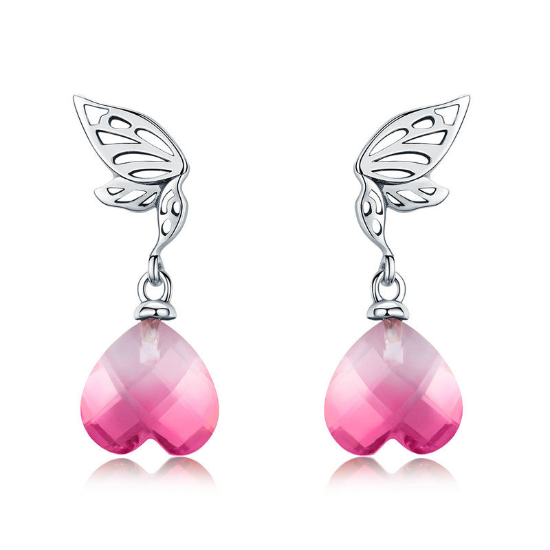 WOSTU Pink Wings Of Hope Drop Earrings For Women Anniversary Original Brand Jewelry Gift BSE015 - WOSTU