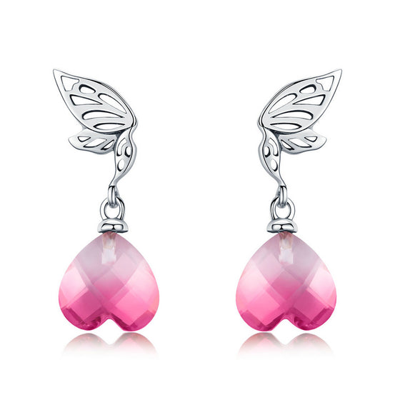 WOSTU Hot Fashion 925 Sterling Silver Pink Wings Of Hope Drop Earrings For Women Anniversary Original Brand Jewelry Gift BSE015 - WOSTU