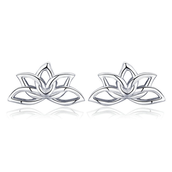 WOSTU Lotus Flower Stud Earrings For Women Classic Romantic Original  Jewelry Lucky Gift BSE024 - WOSTU