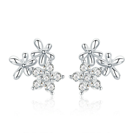 WOSTU Gypsophila Flower Stud Earrings For Women Snowflake Earrings Fashion Silver 925 Jewelry BSE030 - WOSTU