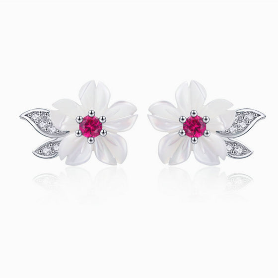 WOSTU White Shell Flower Stud Earrings 925 Sterling Silver Clear CZ Elegance Small Earrings For Women Delicate Jewelry BSE055 - WOSTU