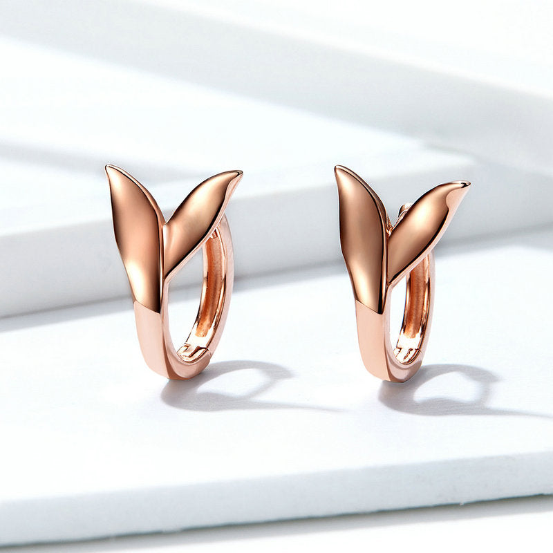 WOSTU Rose Gold Dolphin Tail Clip Earrings Delicate Small Earrings For Women Silver 925 Jewelry Gifts BSE078 - WOSTU