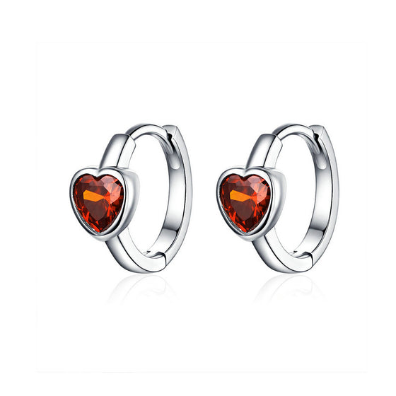 WOSTU Alluring Hearts Small Hoop Earrings 925 Sterling Silver Red Crystal Circle Earrings For Women Wedding Jewelry Gift BSE084